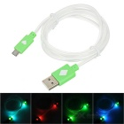 USB Male to Micro USB Male Data Charging Cable w/ Colorful Light for Samsung N7100 - Green (99m)