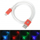 USB Male to Micro USB Male Data Charging Cable w/ Colorful Light for Samsung N7100 - Red (1m)