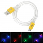 USB Male to Micro USB Male Data Charging Cable w/ Colorful Light for Samsung N7100 - Yellow (99cm)