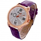 MGJPD01 Women's Stylish PU Leather Band Quartz Analog Wrist Watch - Golden + Purple (1 x 626)