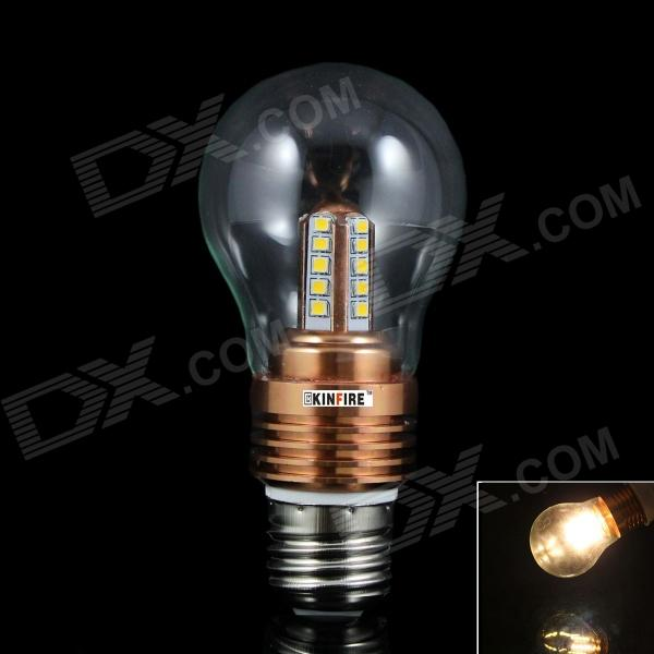KINFIRE E27 5W 350lm 3000K 25-2835 SMD LED blanc chaud Lampe - Transparent + or rose (85 ~ 265V)
