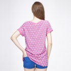Catwalk88 European Style Women's Summer Short-sleeved Casual Round Neck T-shirt - Peach (Size L)