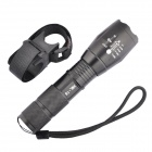 E17 CREE XM-L T6 900lm 5-Mode Memory White LED Zoomable Flashlight w/ Bike Mount- Black