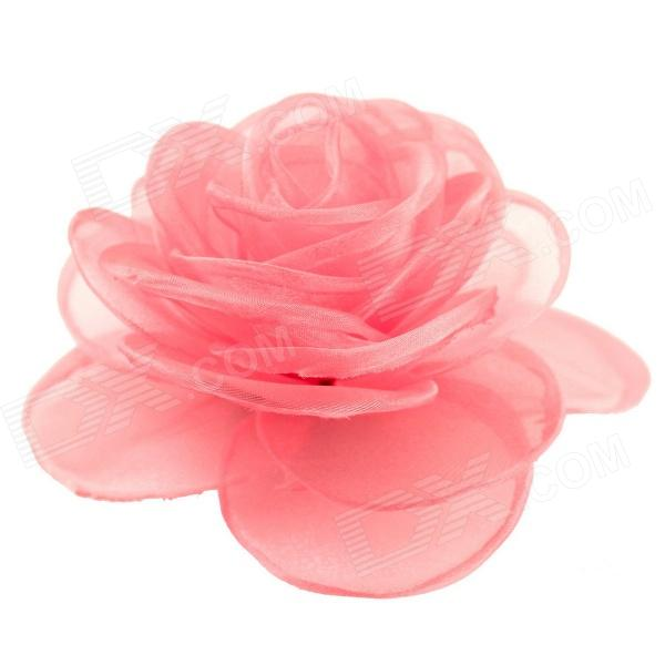 EQute XOTW05C12 Elegant Fashionable Solid Rose Flower Headdress / Hair Clip / Corsage - Pink