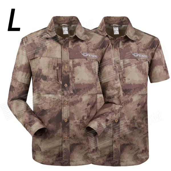 ESDY 617 Men Quick-Dry Sleeve Removable Outdoor Shirt - Camouflage Ruins (L)