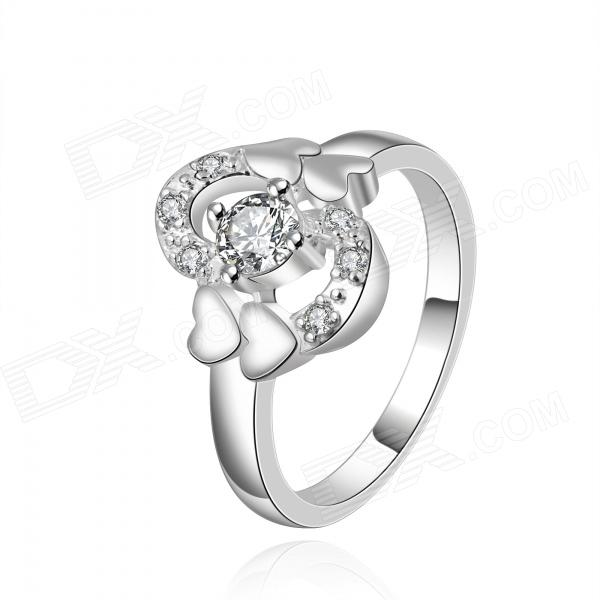 Women's Heart-shaped Rhinestone-studded Silver-plated Brass Ring - Silver (US Size 8) rigant heart shaped crystal women s ring sapphire blue silver