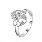 Women's Heart-shaped Rhinestone-studded Silver-plated Brass Ring - Silver (US Size 8)