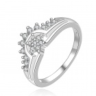 Women's Rhinestone-studded Crown-shaped Silver-plated Brass Ring - Silver (US Size 8)