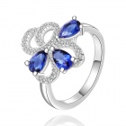 Women's Rhinestone-studded Silver-plated Brass Ring - Silver + Blue (US Size 8)