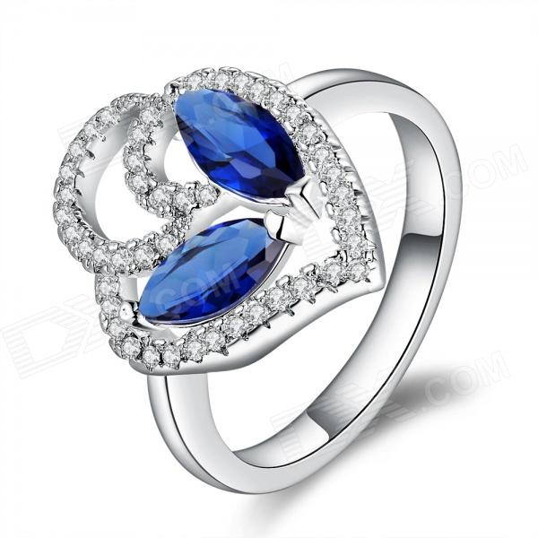 Women's Fashionable Rhinestone Studded Copper + Silver Plated Ring - Silver + Blue (US Size: 8)