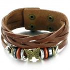 Frauen-Retro Schmetterling Patterned PU-Leder-Armband - Brown