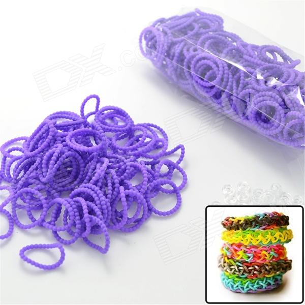 DIY Elastic Silicone Band + S Hook Set for Children - Purple diy elastic silicone rubber band bracelet s hook set for children pink