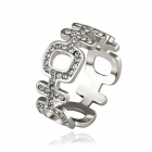 Women's Chinese Character Shaped Rhinestone Inlaid Zinc Alloy Ring - Silver (U.S Size 8)