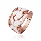 Stylish Butterfly Rhinestone-studded Gold-plated Finger Ring - Rose Gold + White (US Size 8)