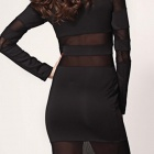 LC6191 Fashionable Sexy Long Sleeved Slim Polyester Temptress Dress - Black