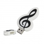 Music Note Style USB 2.0 Flash Drive - White + Black (16GB)