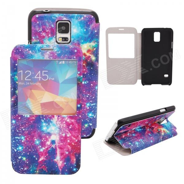 Elonbo J10H8 Starry Sky Pattern Flip Open PU Case w/ Stand / Display Window for Samsung Galaxy S5 whitaker h halas j