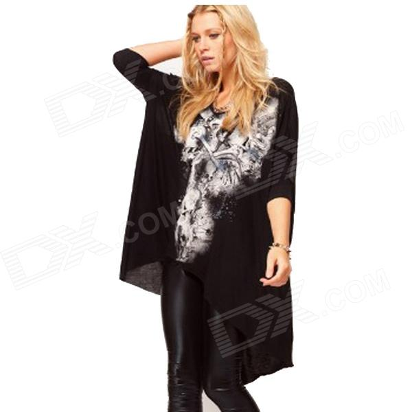 K900 Women's Fashion Skull Pattern Dovetail Rock Style T-Shirt Dress - Black + White (Size L)