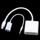 CHEERLINK Mini DVI Male to DP Female + Bisected Audio Cable Set - White (25cm)