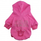 M-0060 Crown Pattern Cotton Hooded T-shirt for Pet Dog - Deep Pink (Size L)