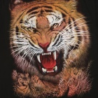 Men's 3D Printing Tiger Pattern Short Sleeves Cotton T-shirt - Black + Multi-colored (M)