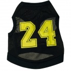 "M-0064 Number ""24"" Dacron Waistcoat for Pet Cat / Dog - Black + Yellow (Size M)"
