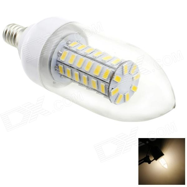 HONSCO E14 6W 550lm 3000K 56-SMD 5730 LED Warm White Light Candle Bulb - White + Silver (AC 220V) honsco e27 5w 400lm 3000k 84 smd 2835 led warm white light bulb white silver ac 85 265v