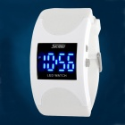 SKMEI 0951 Waterproof Arc Zinc Alloy PU Digital LED Wrist Watch - Black + White (2 x CR1616)