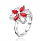 Women`s Fashion Flower Shaped Rhinestone Inlaid Ring - Silver + Red (U.S Size 8)