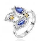 Women's Fashion Flower Shaped Rhinestone Inlaid Ring - Silver + Blue + Yellow (U.S Size 8)