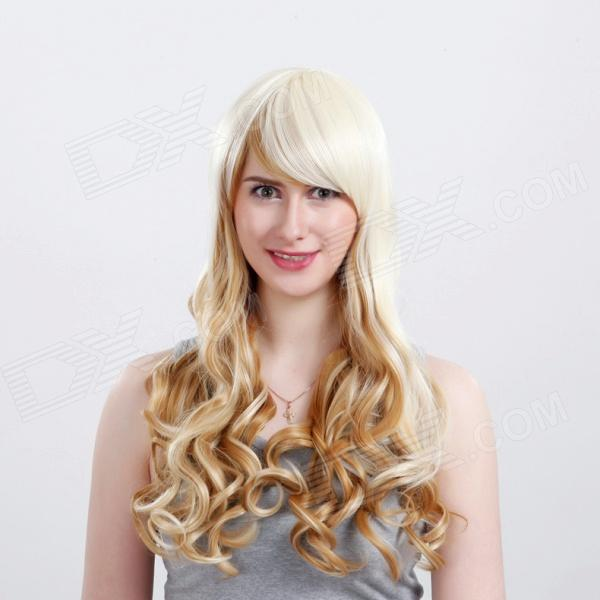 Wm89 Capless Extra Long Synthetic Golden Blonde Curly Hair Wig - Yellowish White 0003588 curly yellow blonde golden gold cosplay hi temp wig