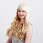 Wm89 Capless Extra Long Synthetic Golden Blonde Curly Hair Wig - Yellowish White