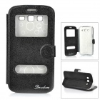 Protective Flip-open PU Leather + TPU Case for Samsung Galaxy Grand 2 G7106 - Black + Transparent