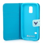 Heart Pattern PU + TPU Protective Flip-Open Case for Samsung Galaxy S5 Mini - Blue