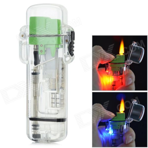 Plastic Refillable Ethane Lighter w/ LED - Green + Transparent (3 x AG3)