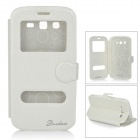 DULISIMAI Protective PU + TPU Flip-Open Case w/ Stand for Samsung Galaxy Grand 2 / G7106 - White