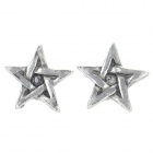 Five-Pointed Star Shaped Zinc Alloy Ear Studs - Antique Silver (Pair)