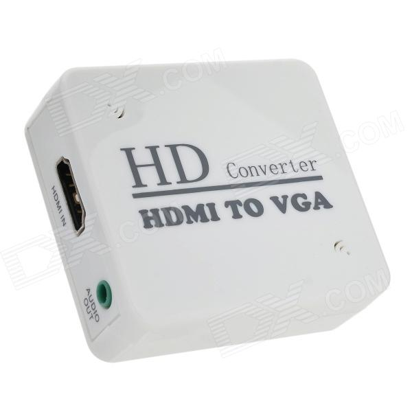 HDMI toVGA HD Convertor w/ 3.5mm Male to 2-Female Audio Cable - White rs232 to usb convertor cable