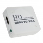 HDMI toVGA HD Convertor w/ 3.5mm Male to 2-Female Audio Cable - White