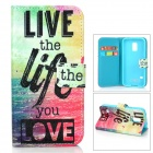 Protective PU Leather + TPU Case w/Card Slot / Holder for Samsung Galaxy S5 Mini - Black + Deep Pink