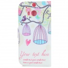 Bird & Birdcage Pattern Flip Open PU + TPU Flip Open Case w/ Stand / Card Slots for HTC ONE2 / M8