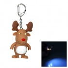 Christmas's Gift Elk Style LED White Flashlight Keychain w/ Sound - Brown + White (3 x AG10)