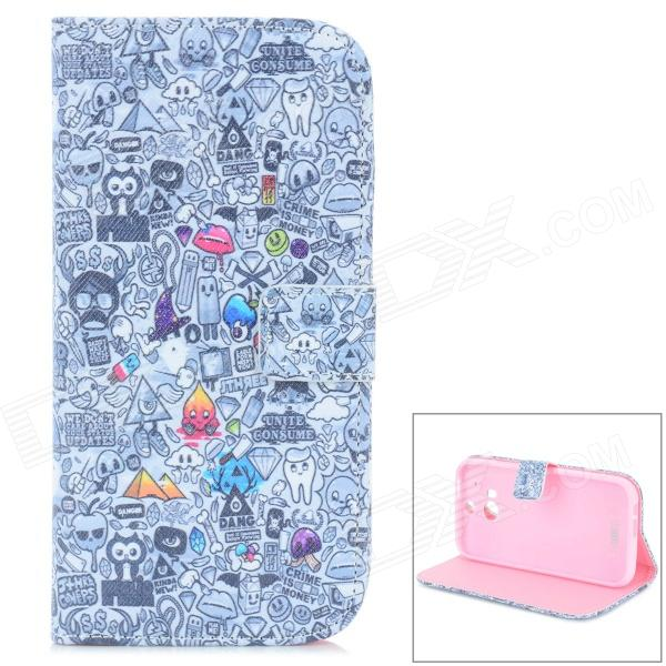Cute Cartoon Pattern PU + TPU Flip Open Case w/ Stand / Card Slots for HTC ONE2 / M8 - Black + Grey cute cartoon pattern pu tpu flip open case w stand card slots for htc one2 m8 black grey
