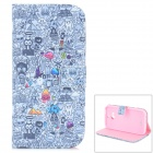 Cute Cartoon Pattern PU + TPU Flip Open Case w/ Stand / Card Slots for HTC ONE2 / M8 - Black + Grey