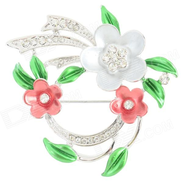 Elegant Flower Shaped Rhinestone Inlaid Tin Alloy Brooch - Silver + Multi-Color терминал great electric 100 kf301 2p kf301 5 0 2 p kf301 2pin 5 0 pcb cgkch107