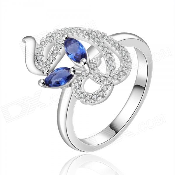 Silver-Plated Rhinestone Decorative Lady's Ring - Blue + Silver диски helo he844 chrome plated r20
