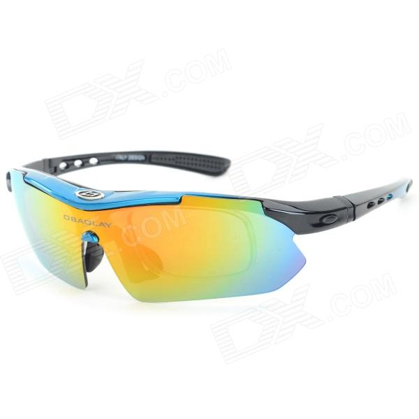 OBAOLAY SP0868 PC Frame Resin Lens UV300 ~ 400 Polarized Sport Goggles - Blue + musta