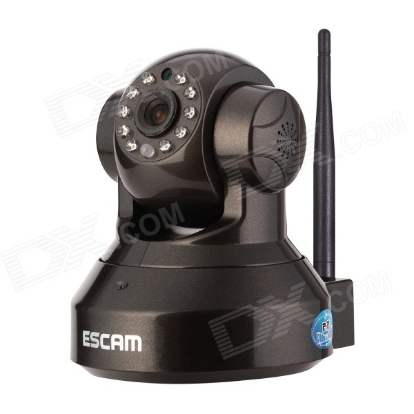 ESCAM Pearl QF100 720P 1MP Wi-Fi Security Surveillance IP Camera w/ Night Vision - Black (UK Plug)