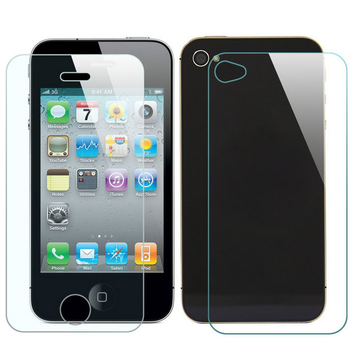 Mr.northjoe Front & Back Tempered Glass Screen Protector Film Guard for IPhone 4 / 4S (2 PCS)