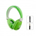 MQ33 Wired 3.5mm Jack Plug Headphone Headset w/ Microphone for IPHONE / IPAD / IPOD - Green + White